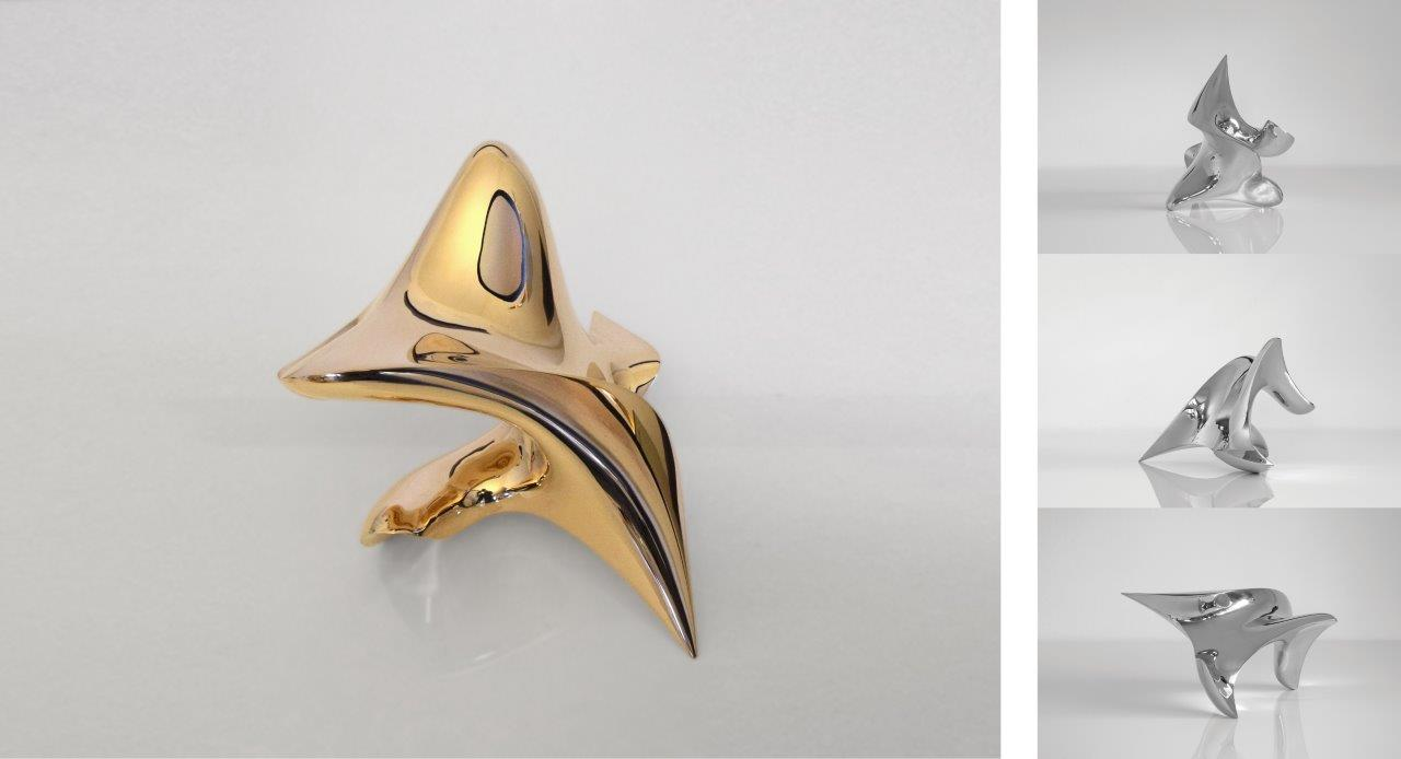 """trans-dimensional object """"poisis"""" Bronze polished"""